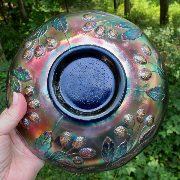 Antique Fenton Blue Orange Tree Carnival Glass Round ICS Bowl