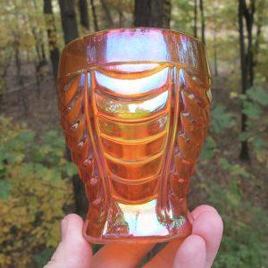 Antique Inwald Drapery Variant Marigold Carnival Glass Tumbler