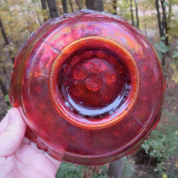 Antique Fenton Coin Dot RED Carnival Glass Nut Bowl - RARE!