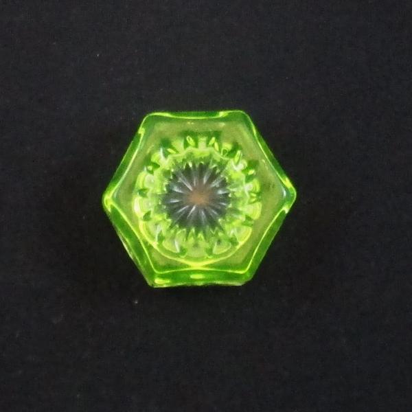 Mosser Vaseline Glass #106 Hexagon Individual Salt