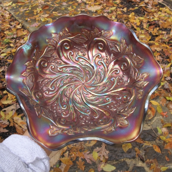 Antique Millersburg Seaweed Amethyst Carnival Glass Bowl
