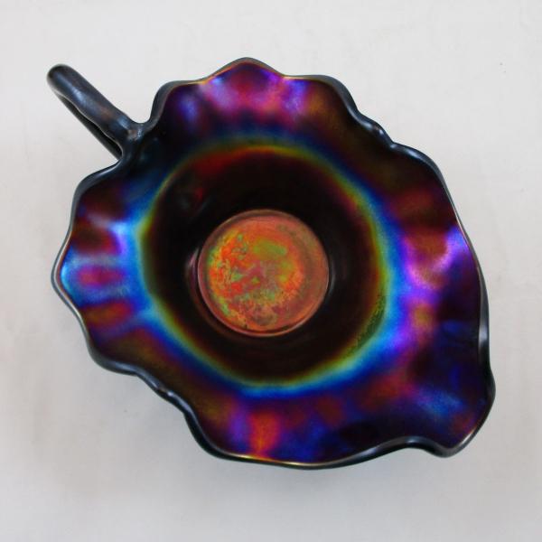 Antique Dugan Purple Fan Carnival Glass Gravy Boat