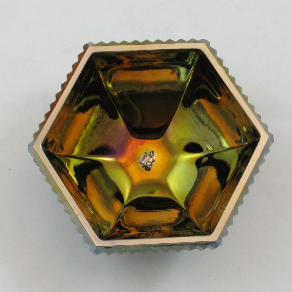 Imperial Amethyst Hobstar & Fan Carnival Glass Covered Trinket Box