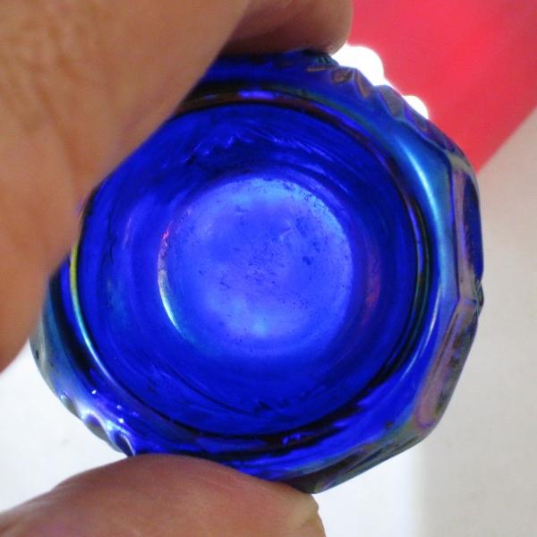 Summit Blue Carnival Glass Hobstar Individual Salt