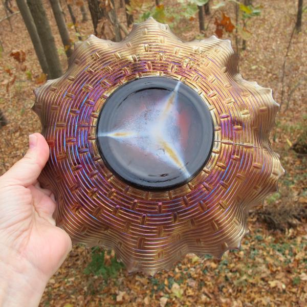 Antique Dugan Apple Blossom Twigs Amethyst Carnival Glass Low Ruffled Bowl