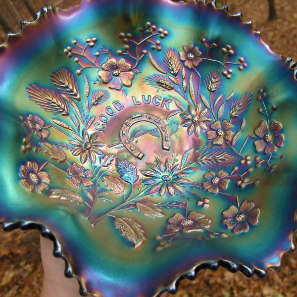 Antique Northwood Good Luck Amethyst Carnival Glass Bowl