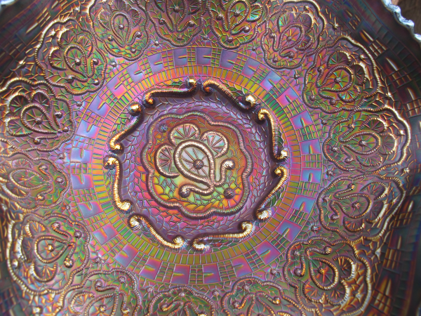 Antique Fenton Persian Medallion Blue Carnival Glass Large Bowl