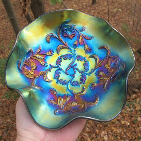 Antique Dugan Bells & Beads Amethyst Carnival Glass Bowl