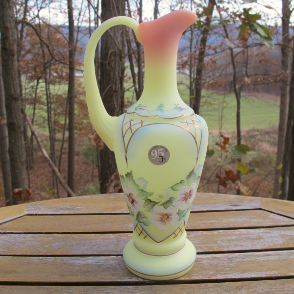 Fenton Decorated Pansy Flower Burmese Art Glass Ewer