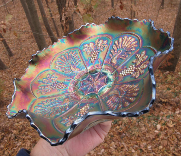 Antique Fenton Peacock & Grape Blue Carnival Glass Bowl