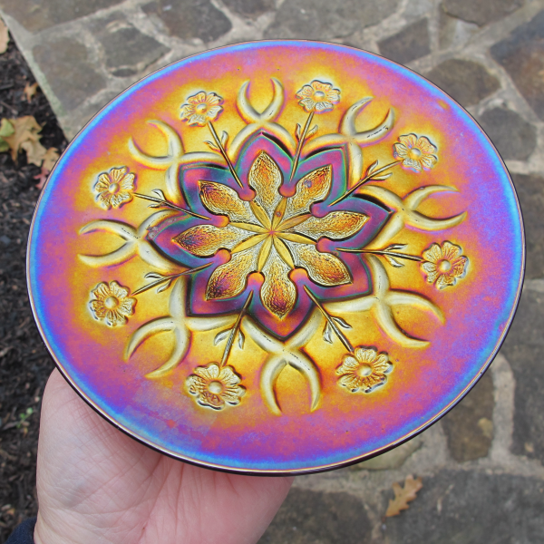 Antique Dugan Wishbone & Spades Amethyst Carnival Glass Plate