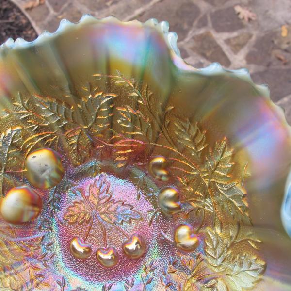 Antique Northwood Aqua Opal Three Fruits Stippled Carnival Glass Bowl