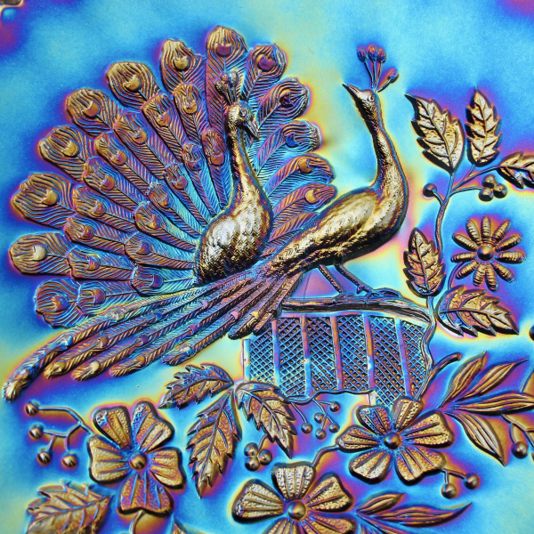 Antique Northwood Electric Amethyst Peacocks Fence Carnival Glass Plate