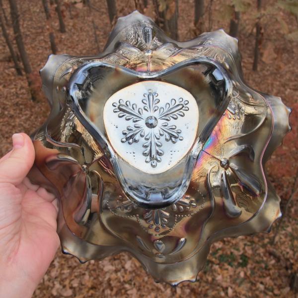Antique Northwood Sunflower Amethyst Carnival Glass Bowl