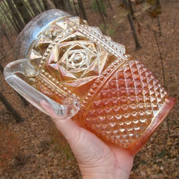 Antique Jain? India Shazam Marigold Carnival Glass Water Pitcher