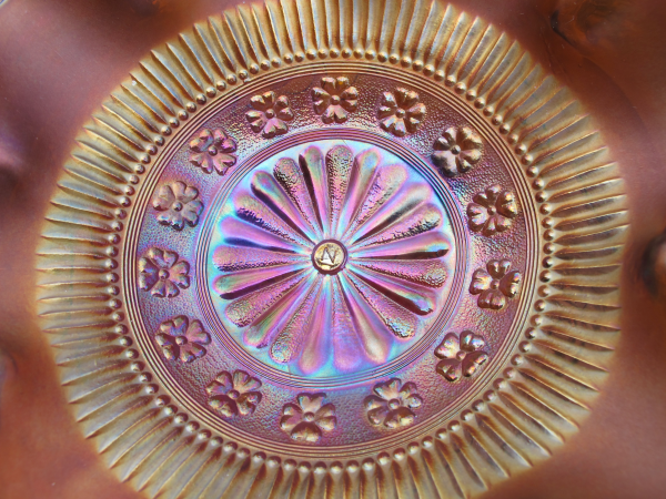 Antique Northwood Rosette Amethyst Carnival Glass Flared Bowl