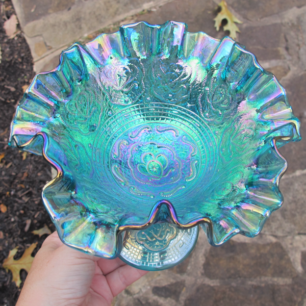 Fenton Persian Medallion Teal Carnival Glass Crimped Ruffled Compote