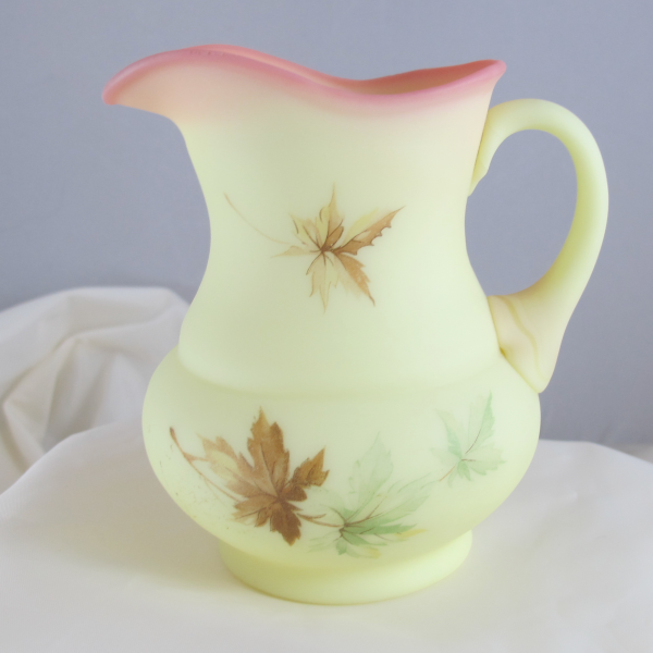 Fenton Hand Painted Maple Leaf Burmese Art Glass Creamer