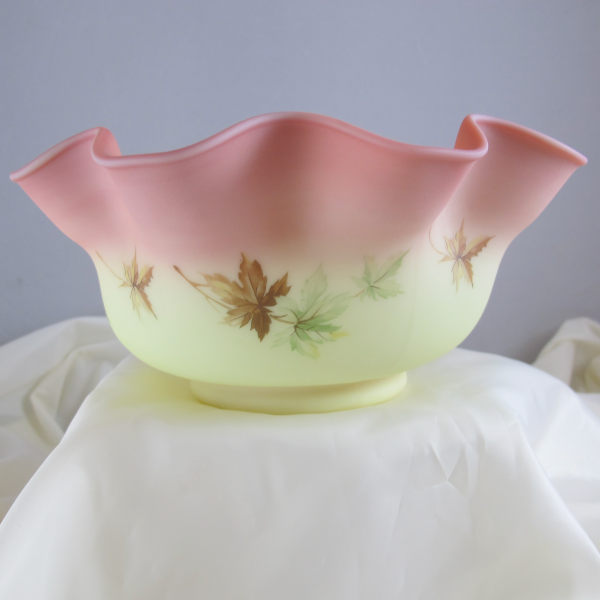 Fenton Hand Painted Maple Leaf Burmese Art Glass Large Bowl