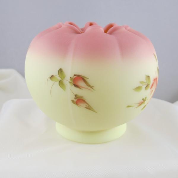 Fenton Handpainted Roses Burmese Art Glass Rose Bowl
