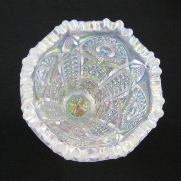 Imperial White Octagon Carnival Glass Vase