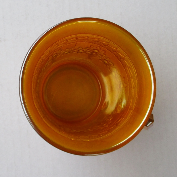 Antique Fenton Yellow Orange Tree Carnival Glass Standard Mug