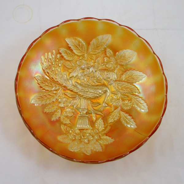 Antique Millersburg Marigold Peacock & Urn Carnival Glass Master Ice Cream Bowl