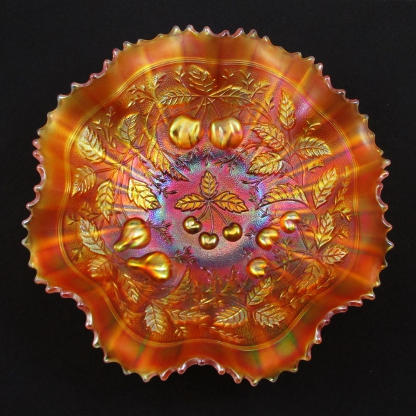 Antique Northwood Marigold Three Fruits Stippled Carnival Glass Bowl