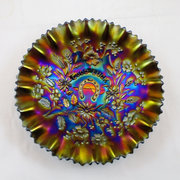 Antique Northwood Amethyst Good Luck Carnival Glass PCE Bowl