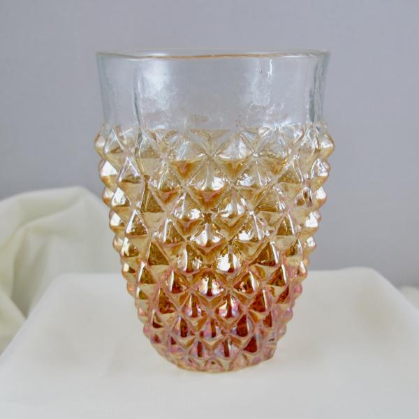 Antique Jain? Diamond Mine Marigold Carnival Glass Tumbler