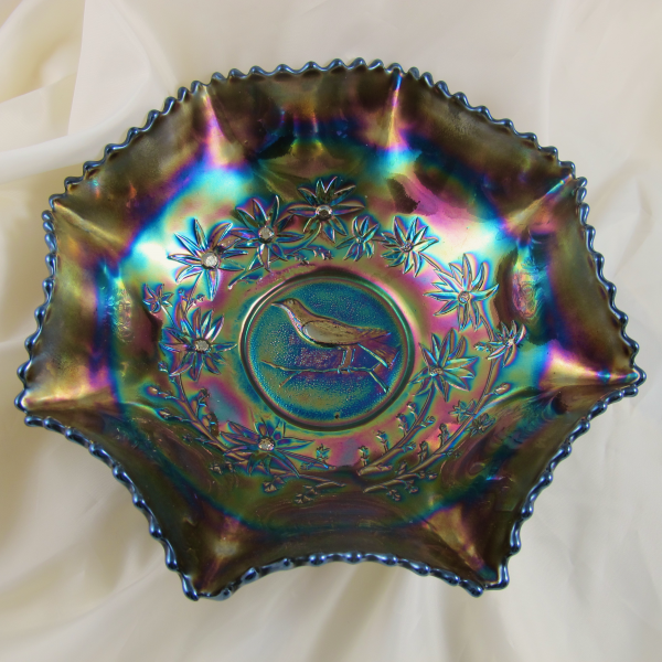 Antique Crown Crystal Magpie Amethyst Carnival Glass Master Bowl (Australian)