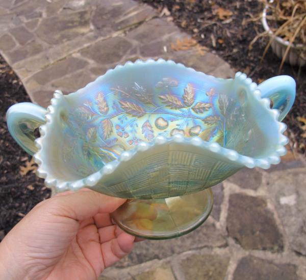 Antique Northwood Fruits & Flowers Pastel Aqua Opal Carnival Glass Bon Bon