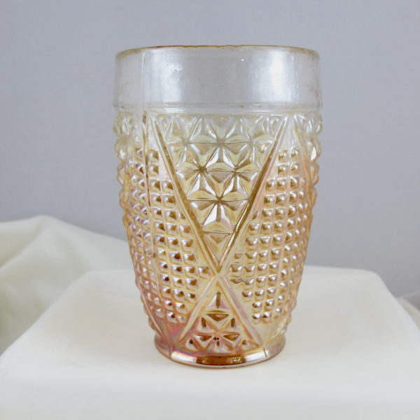 Antique Jain? Spice Grater Marigold Carnival Glass Tumbler