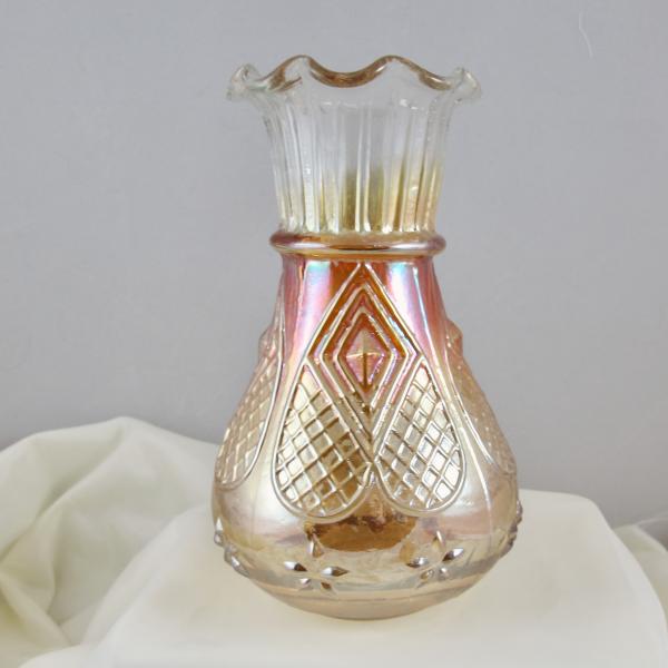 Antique Jain Diamond Heart Marigold Carnival Glass LARGE Vase