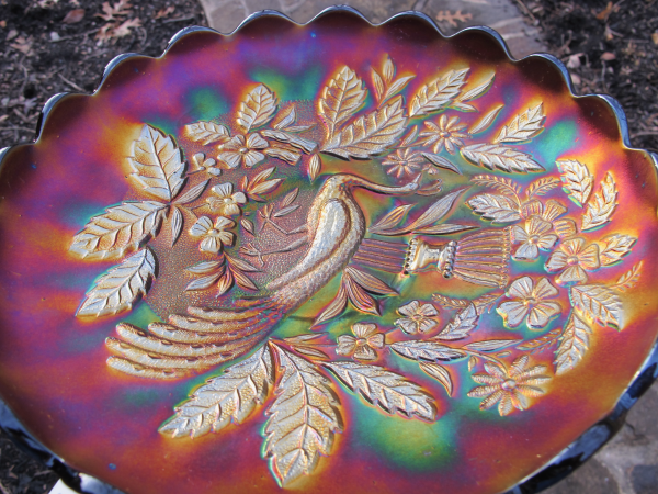 Antique Northwood Peacock and Urn Amethyst Carnival Glass Master Bowl