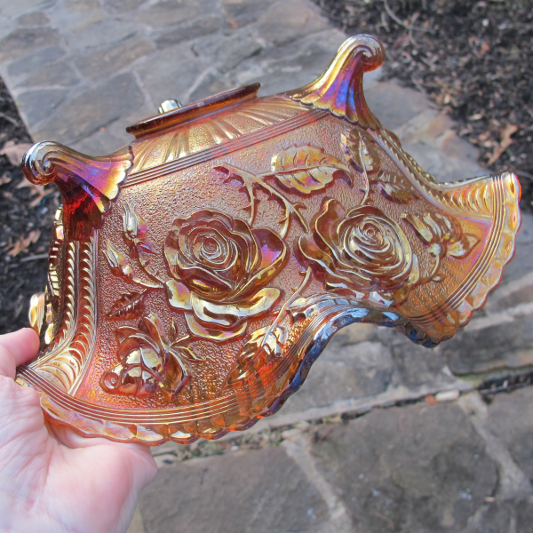 Antique Imperial Lustre Rose Amber Carnival Glass Fruit Bowl