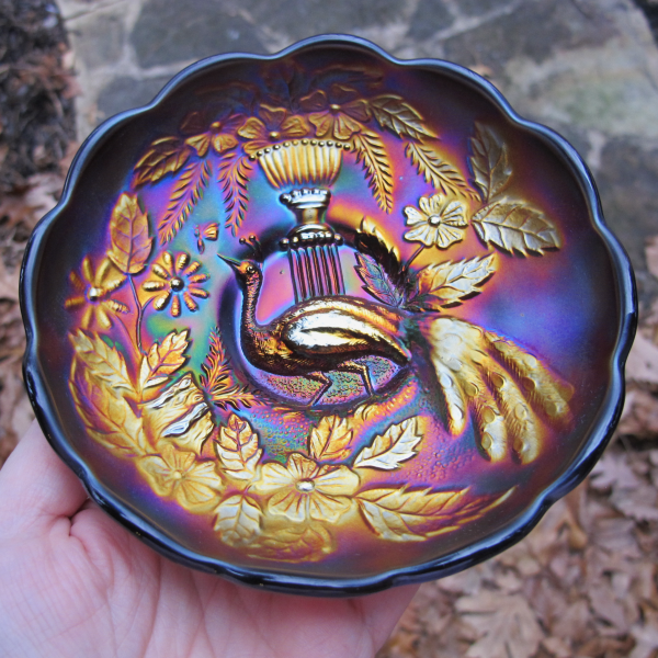 Antique Northwood Peacock and Urn Amethyst Carnival Glass Berry Bowl