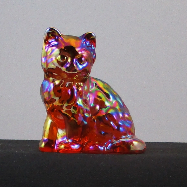 Mosser Red Sitting Cat Carnival Glass Animal Figurine