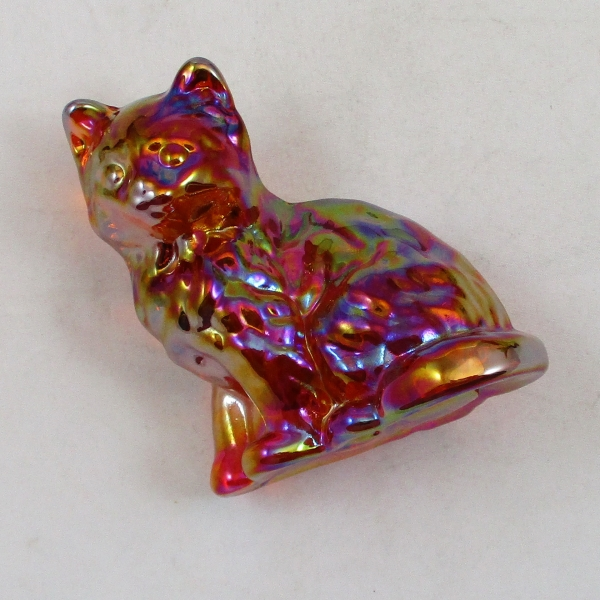 Mosser Red Sitting Cat Carnival Glass Animal Figurine