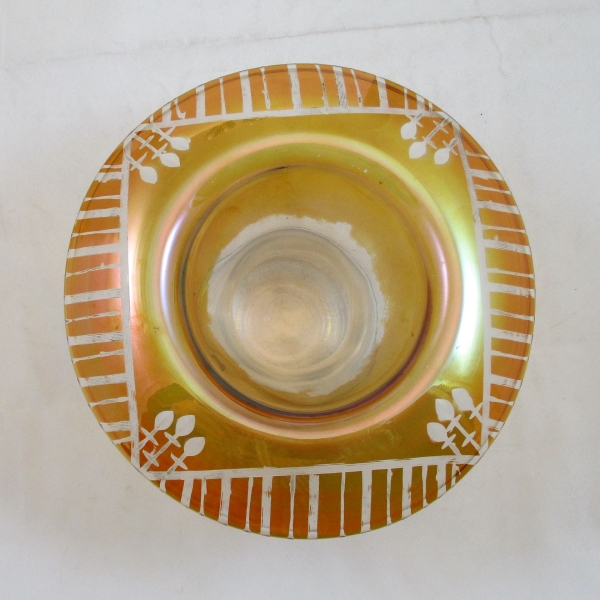 Antique Standard Marigold Etched Deco Rolled Rim #1 Vase