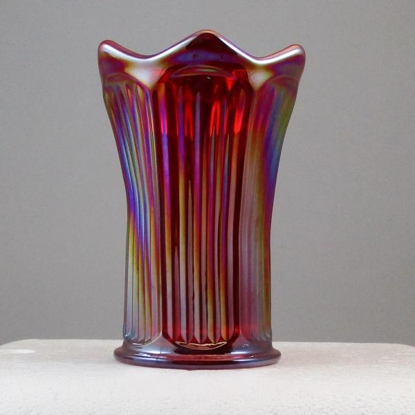Mosser Red Fine Rib Carnival Glass Flared Squatty Vase #1