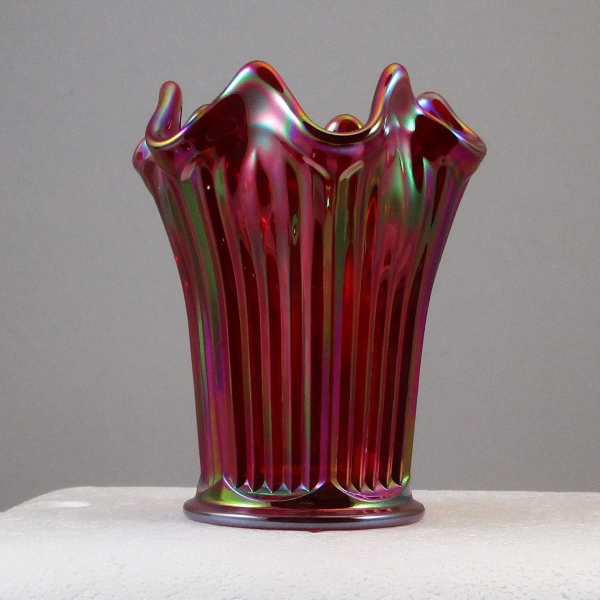 Mosser Red Fine Rib Carnival Glass Flared Squatty Vase #2