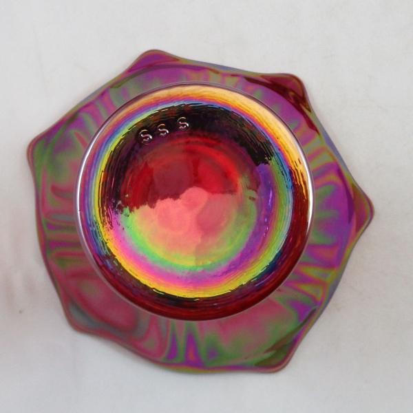 Mosser Red Fine Rib Carnival Glass Flared Squatty Vase #4