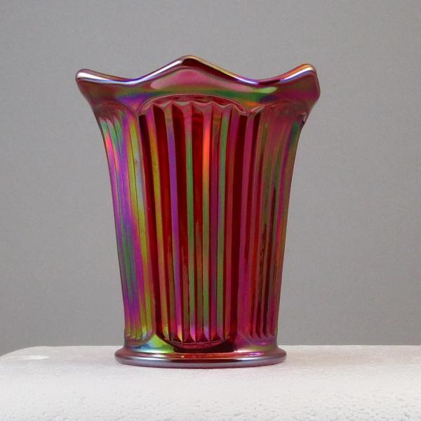 Mosser Red Fine Rib Carnival Glass Flared Squatty Vase #5