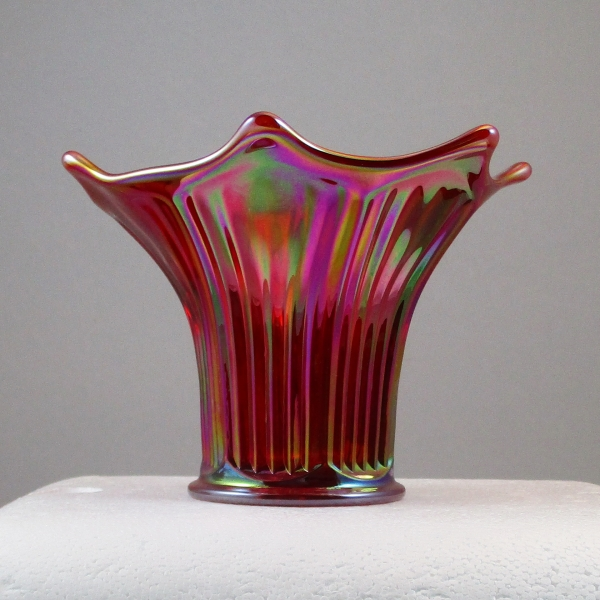Mosser Red Fine Rib Carnival Glass Flared Squatty Vase #6