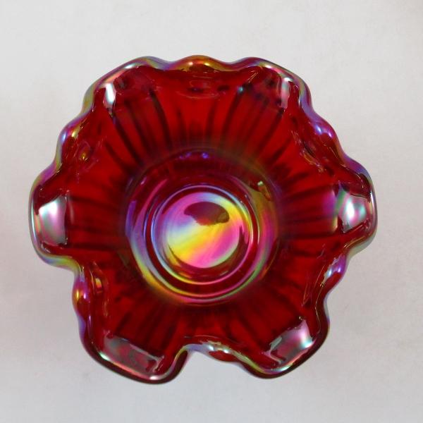 Mosser Red Fine Rib Carnival Glass Flared Squatty Vase #7