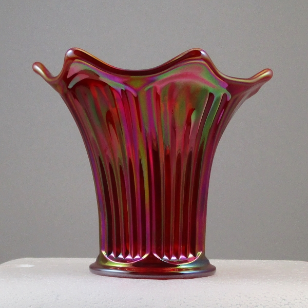Mosser Red Fine Rib Carnival Glass Flared Squatty Vase #8