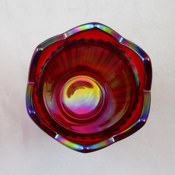 Mosser Red Fine Rib Carnival Glass Un-swung Vase