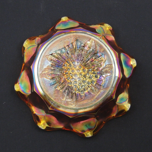 Antique Imperial Marigold Heavy Grape Carnival Glass Mid Size Bowl