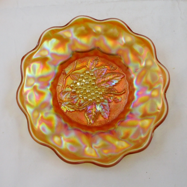 Antique Imperial Marigold Heavy Grape Carnival Glass Plate